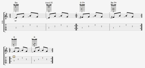 простые переборы на гитаре