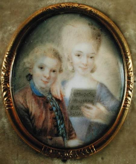 Моцарт и его сестра в детстве