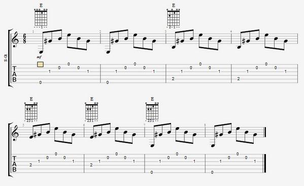 упражнение на гитаре - аккорд ми мажор