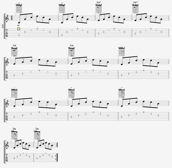 соедниение аккордов Am и Dm на гитаре