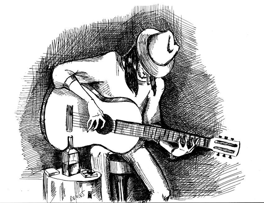 картинки гитарист рисунок стало открытием шоком